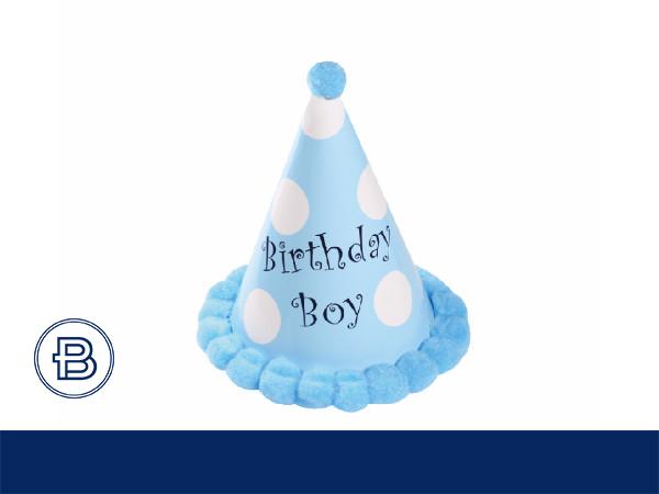 17年生日帽带圆球(蓝)